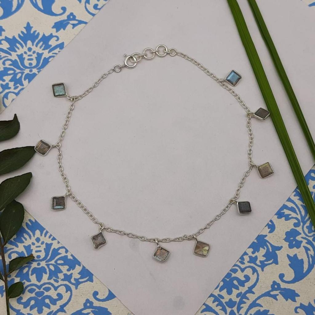 Square Shape Faceted Labradorite Gemstone 925 Sterling Silver Bracelet