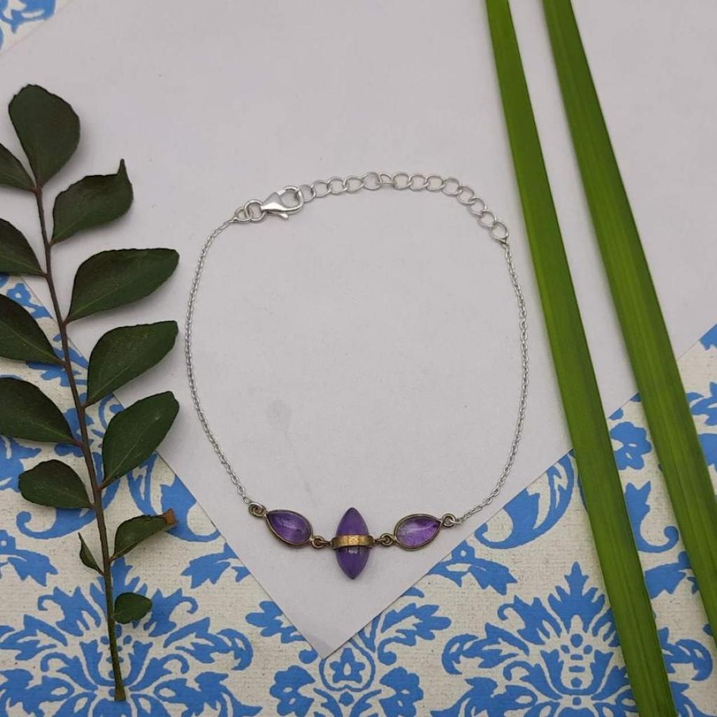 Marquise Shape Amethyst Gemstone 925 Sterling Silver Chain Bracelet For Girl's