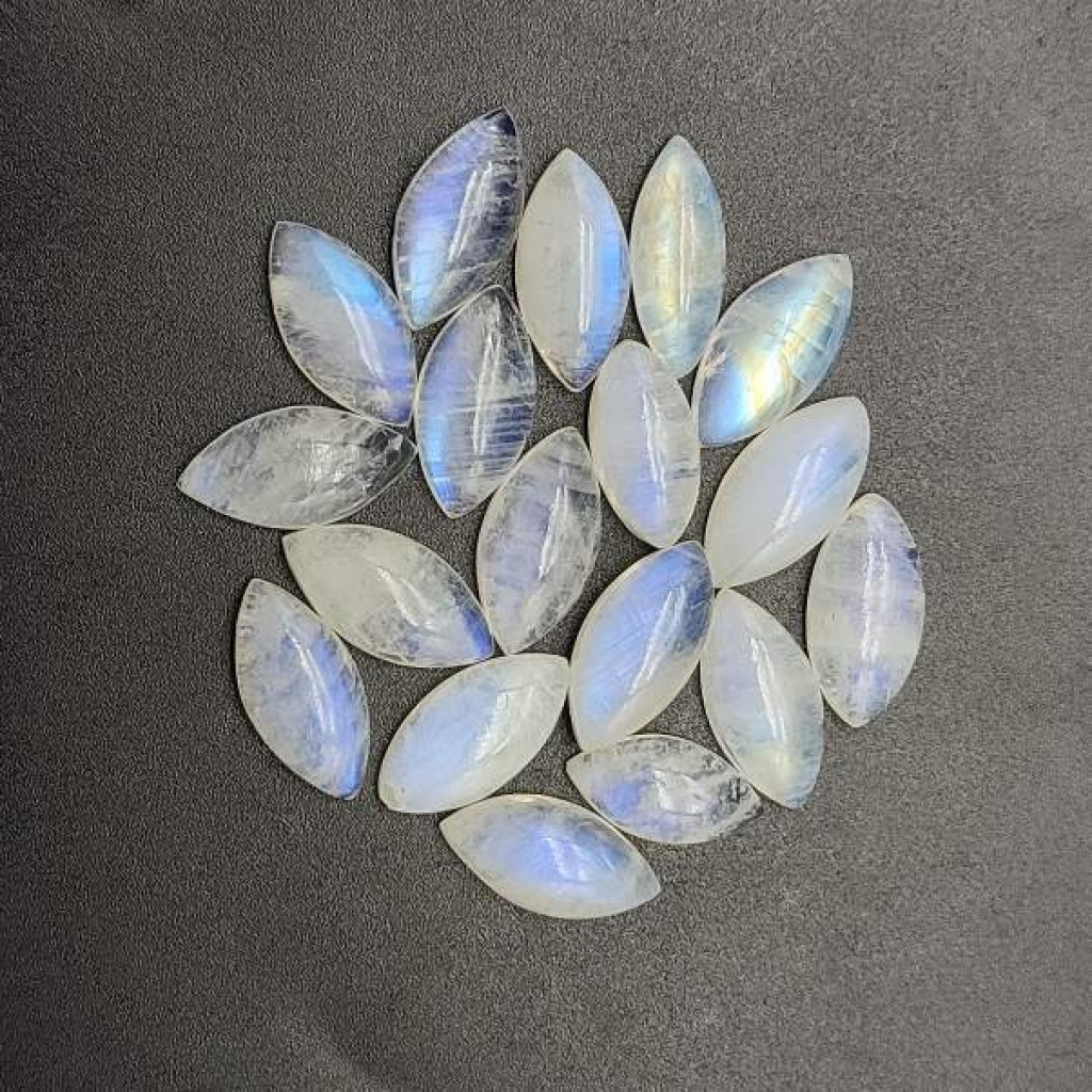 Calibrated 8*16mm Marquise Shape Cabochon  AAA+ Fire Quality Rainbow Moonstone Lot Of 25 pcs