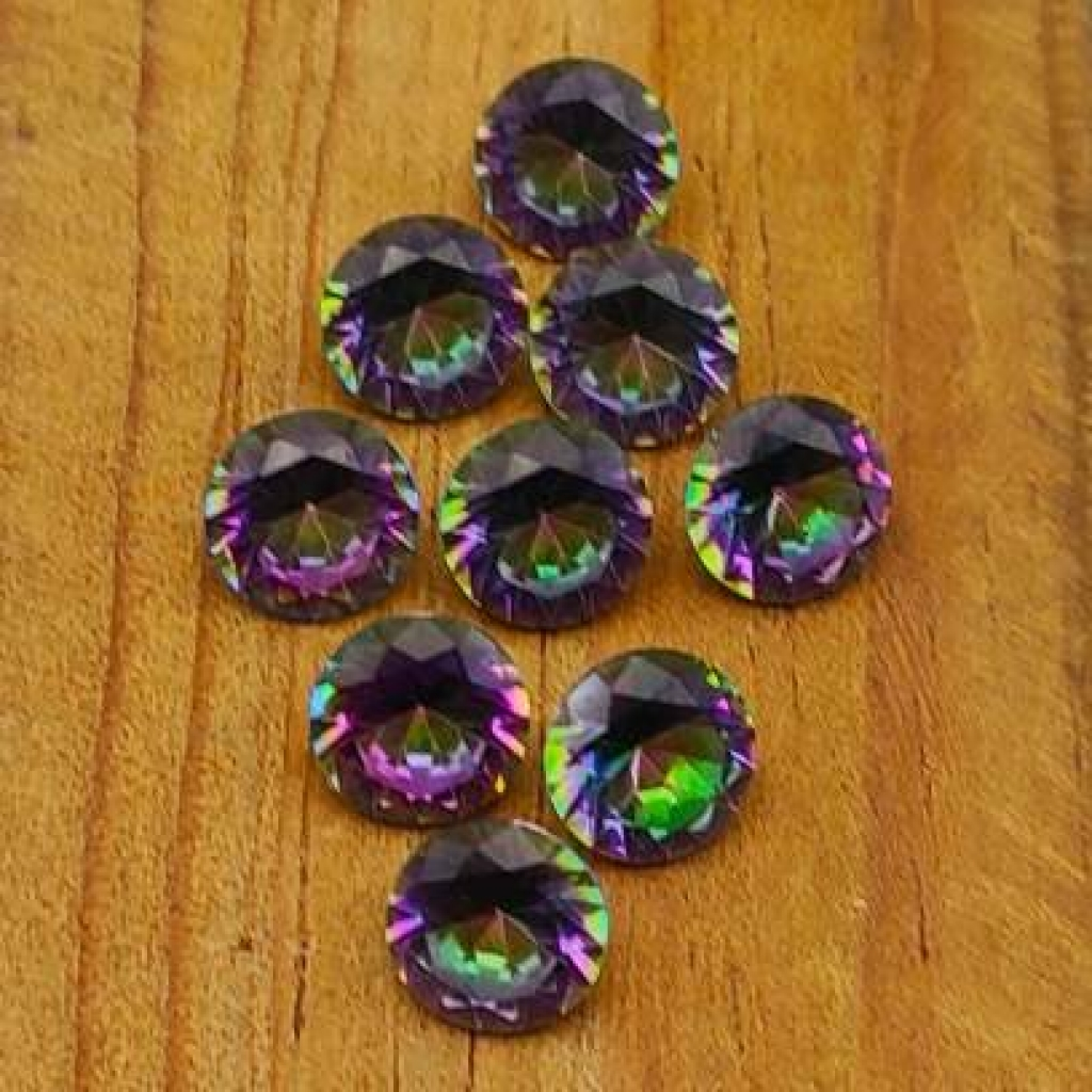 7mm round Shape Faceted Mystic Topaz Loose Gemstone Lot Of 25 pcs