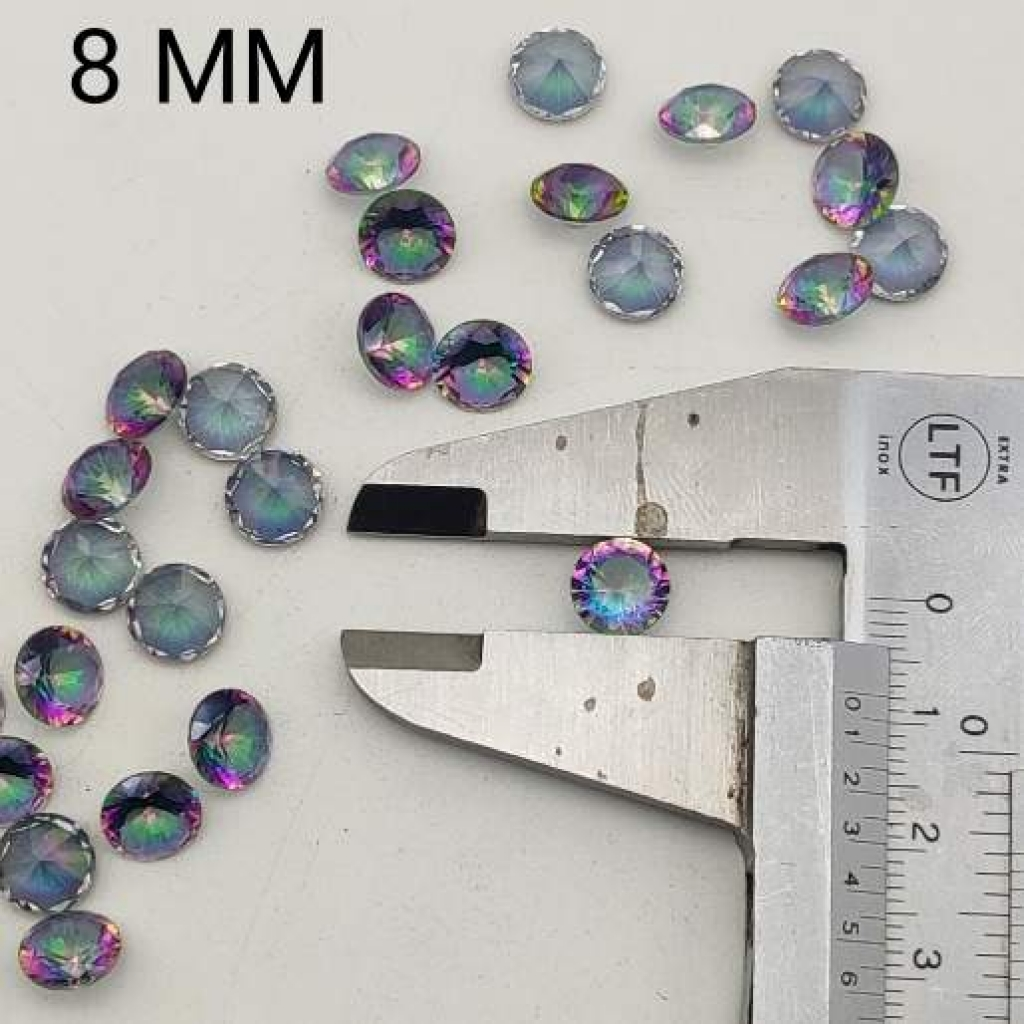 8mm round Shape Faceted Mystic Topaz Loose Gemstone Lot Of 25 pcs