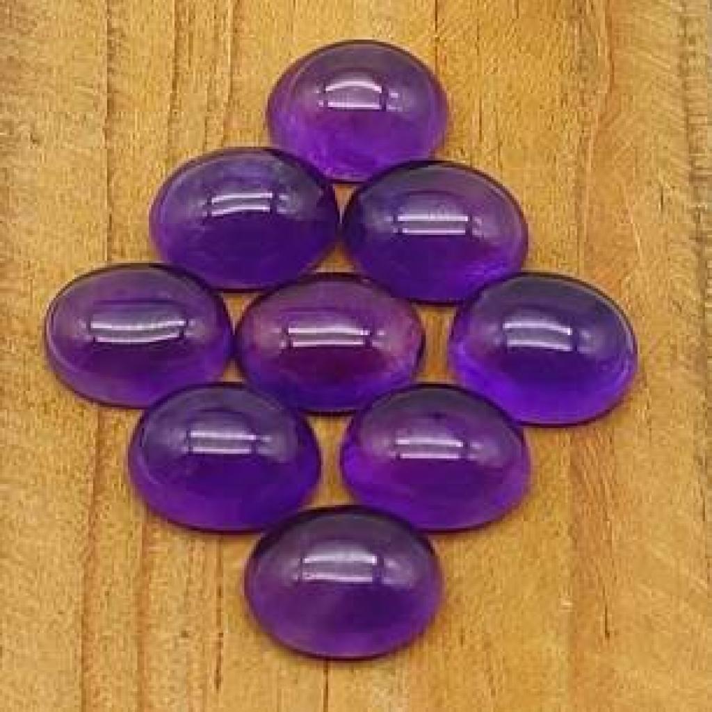 12*16mm Oval Shape Natural Amethyst Cabochons Loose Gemstone Lot Of 25 pcs
