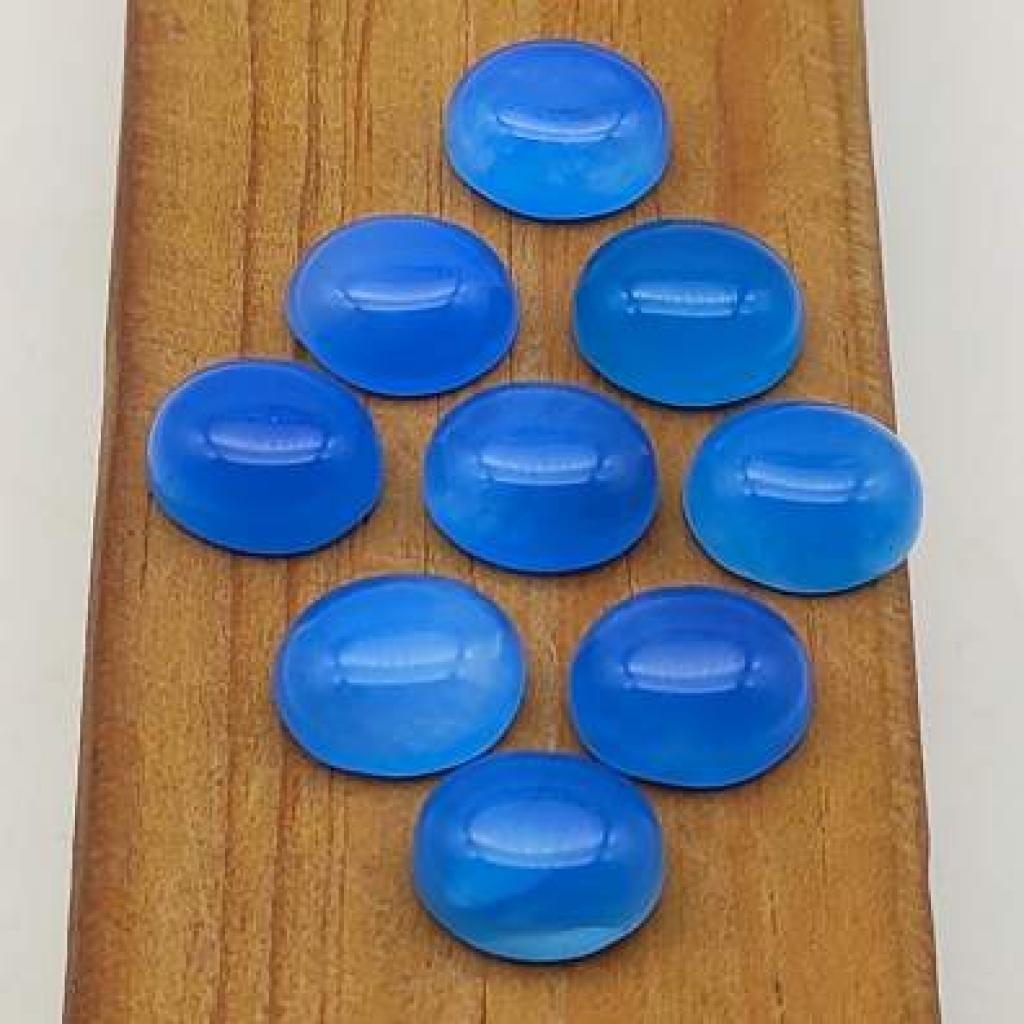 10*14mm Oval  Shape Handpolished Aqua Chalcy Loose Gemstone Lot Of 25 pcs