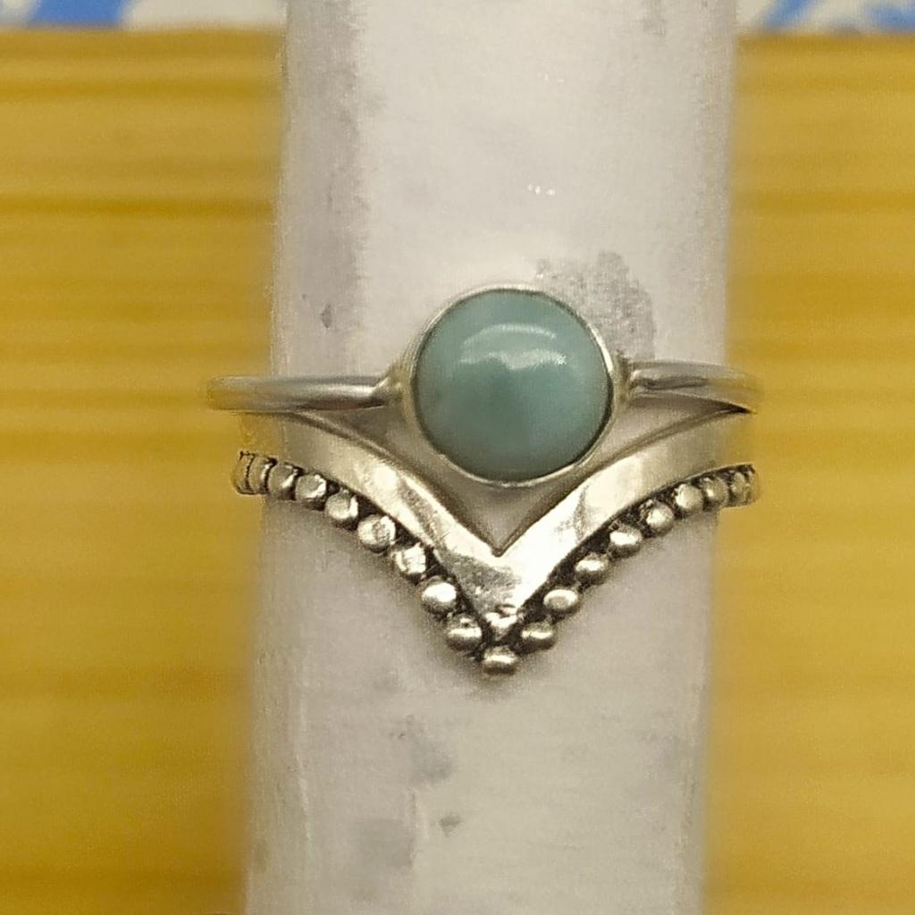 Silver Handcrafted Dainty Larimar Gemstone Boho Stacking Ring