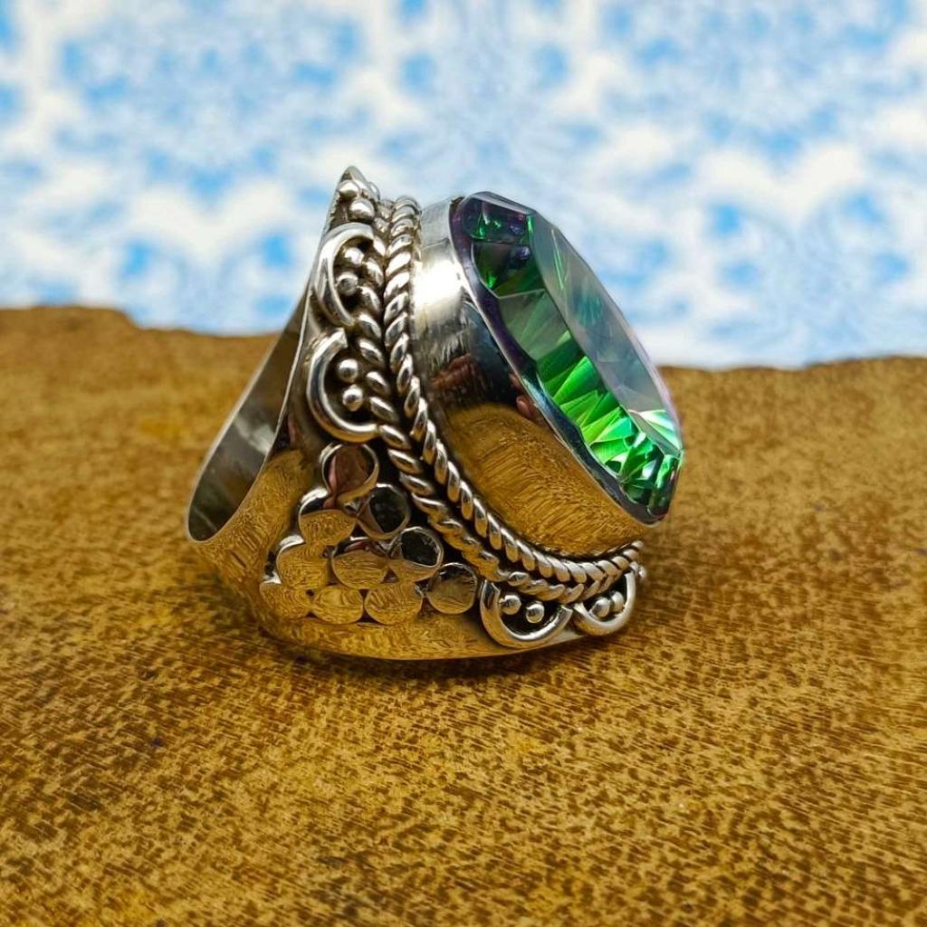Mystic Topaz Gemstone 925 Sterling Silver Bohemian Band Ring