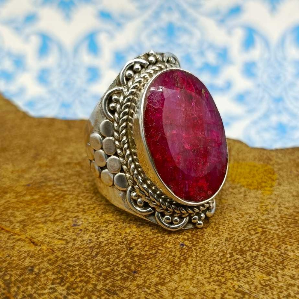 Dyed Red Ruby Gemstone 925 Sterling Silver Bohemian Band Ring