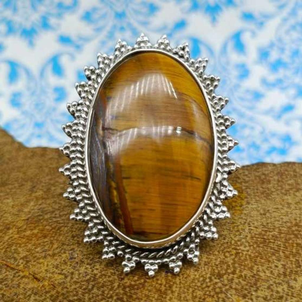 Tiger Eye Gemstone 925 Sterling Silver Bohemian Nepali Work Ring