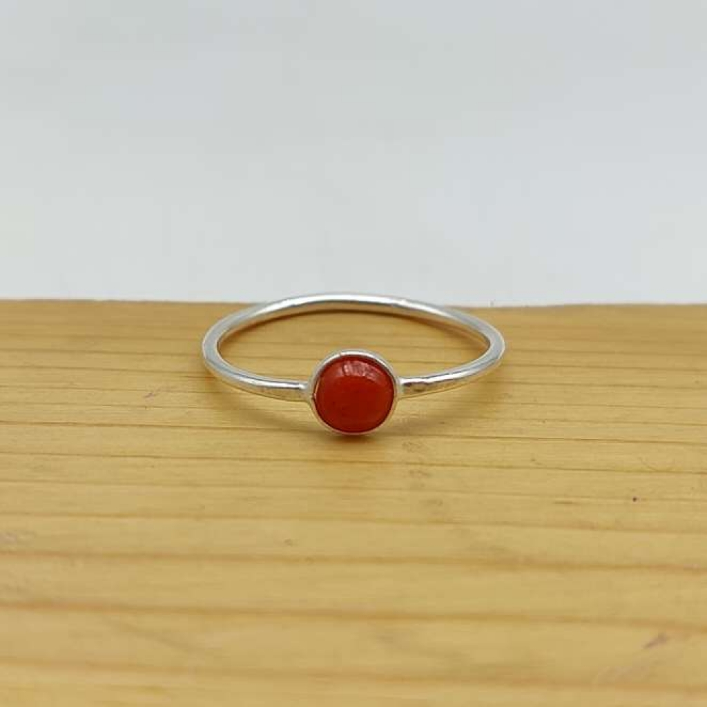 Natural Coral Gemstone 925 Sterling Silver Handcrafted Bezel Ring