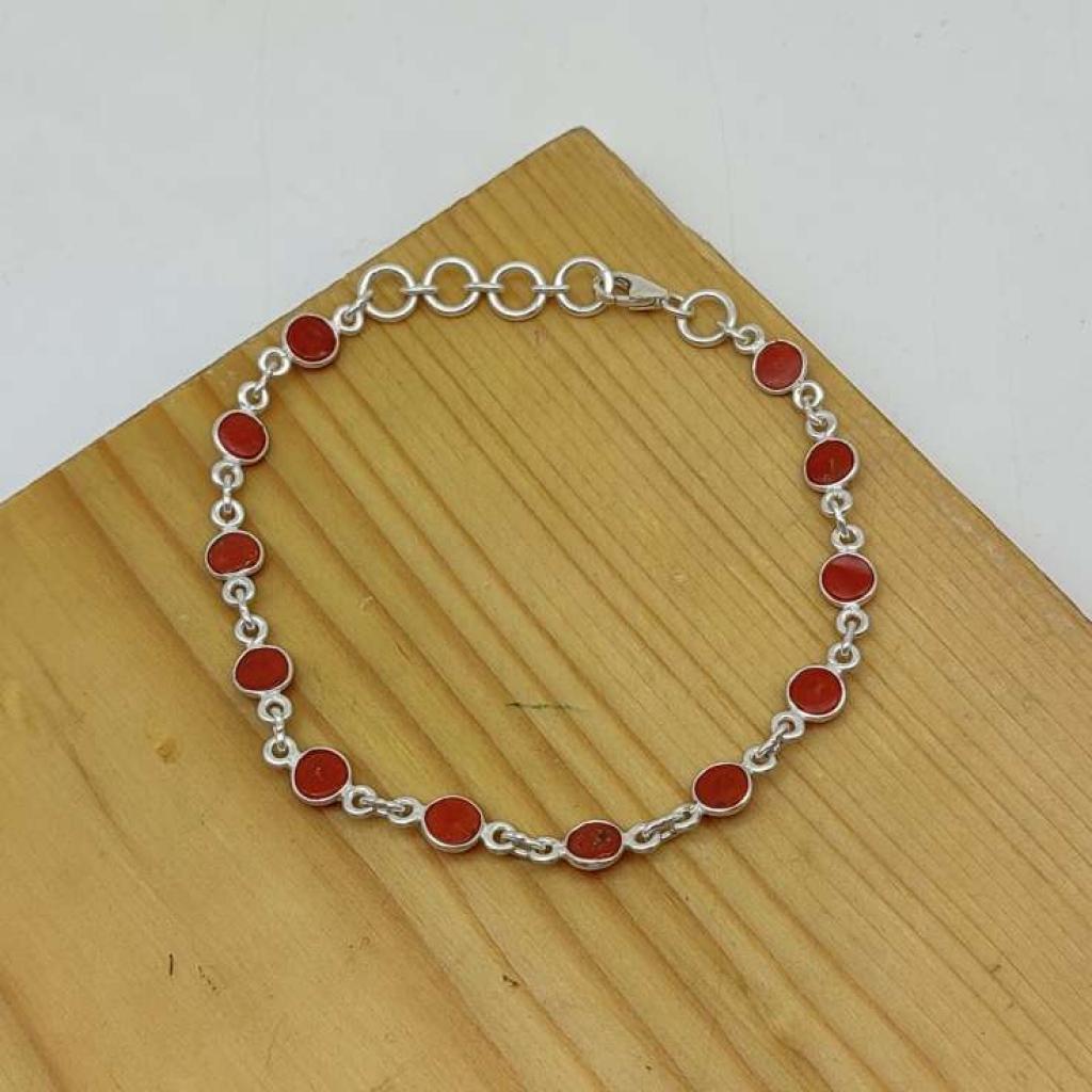 925 Silver Bezel Work Natural Coral Gemstone Bracelet