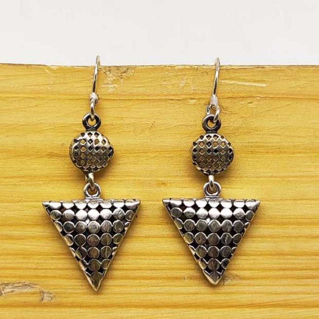 925 Sterling Silver Tringal Shape Handmade Earring Jewelry
