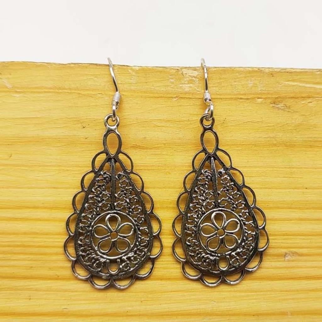 925 Sterling Silver Drop with Flower Shape Handmade Earring Jewelry