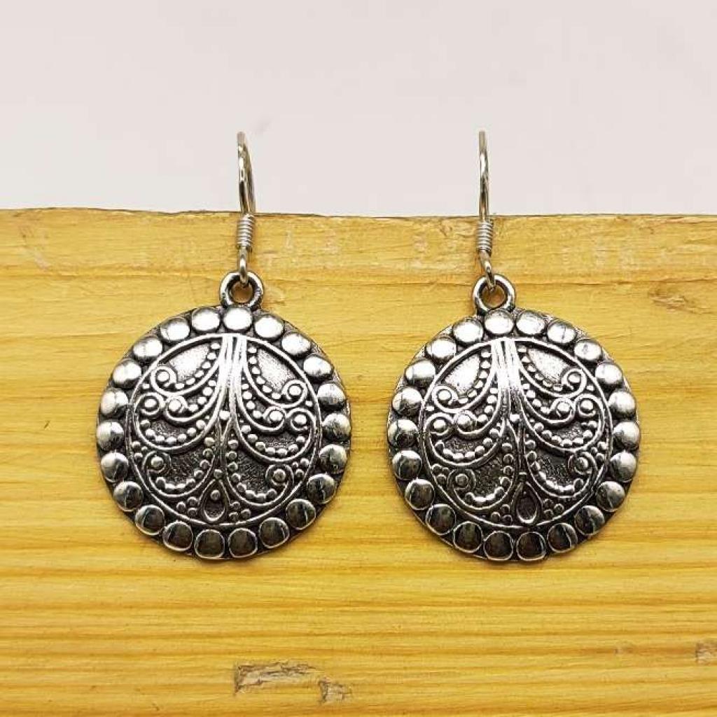 925 Sterling Silver Handmade Round Shape Earring Jewelry