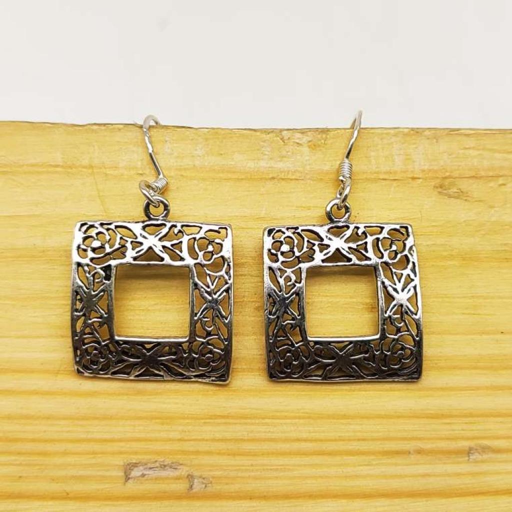 925 Sterling Silver Handmade Window Shape Earring Jewelry