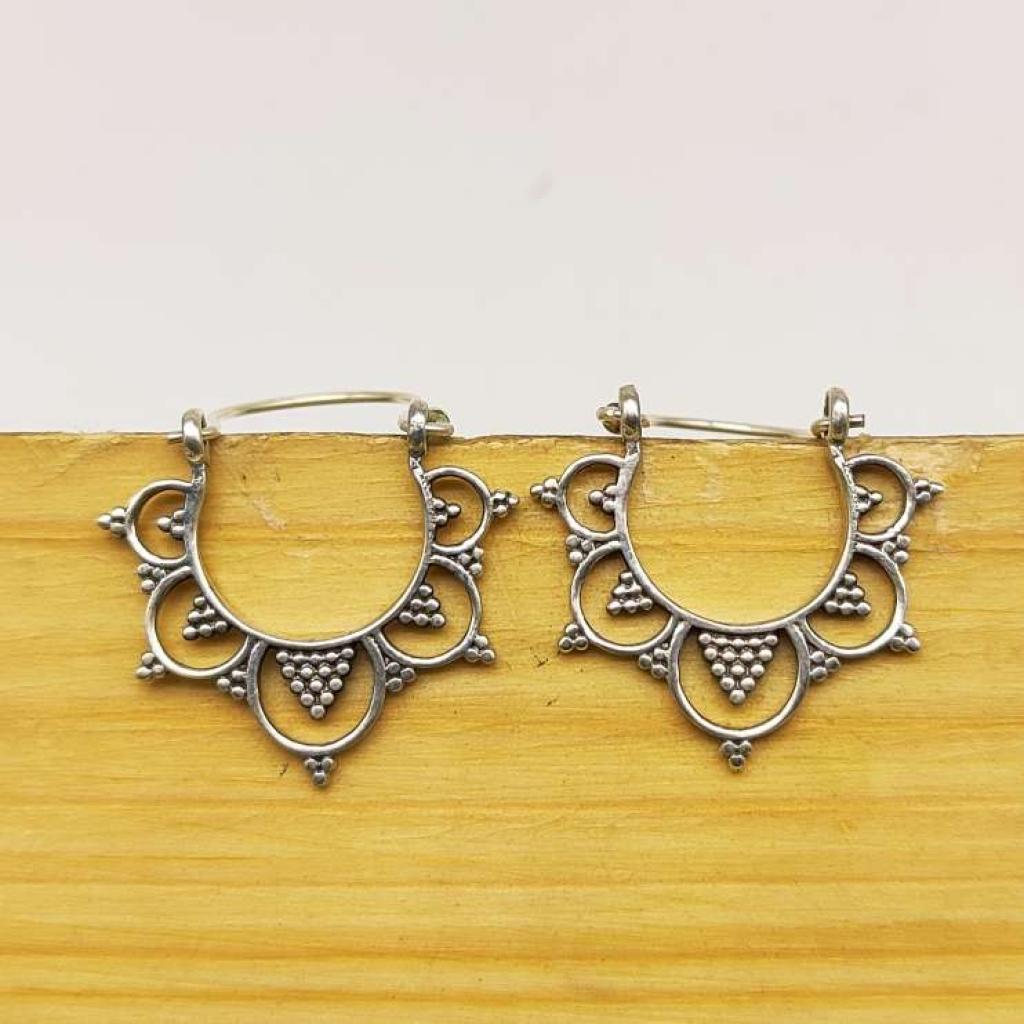 925 Sterling Silver Design Hoop Earring