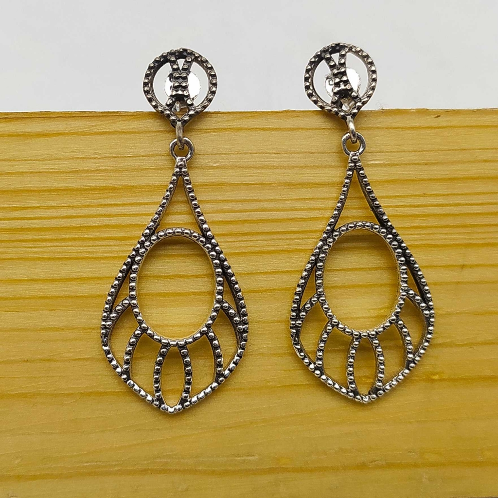 925 Sterling Silver Handmade Netted Drop Studs