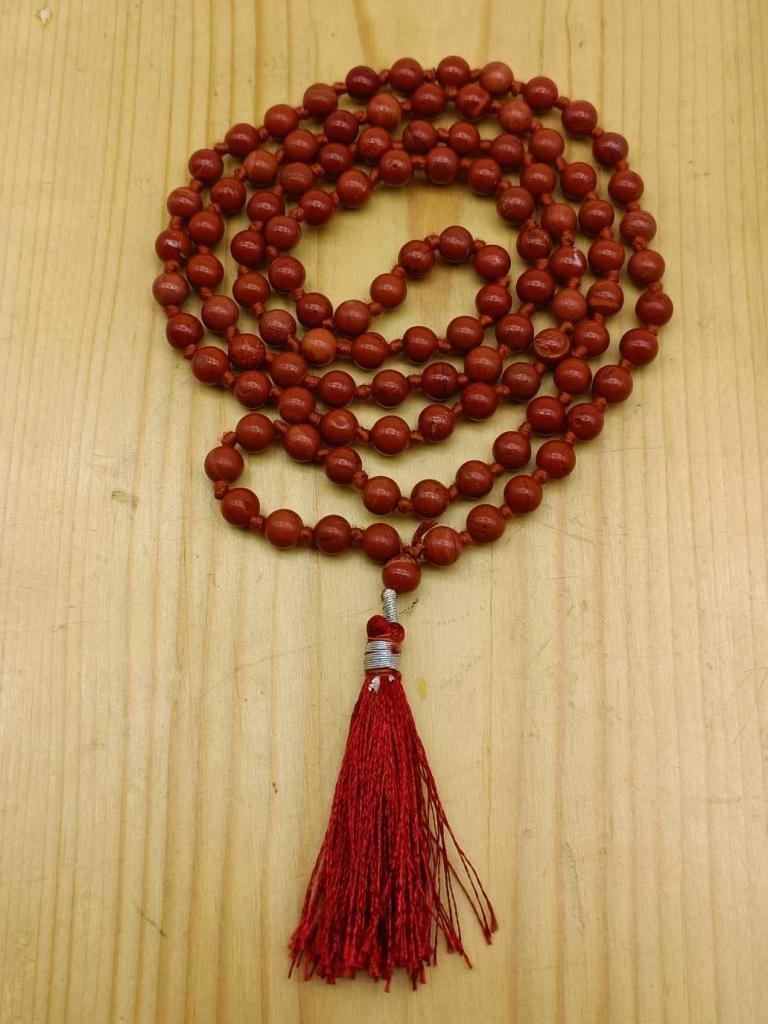 Natural Red Japer Gemstone Handknotted 108 Beads Healing  Japa Mala