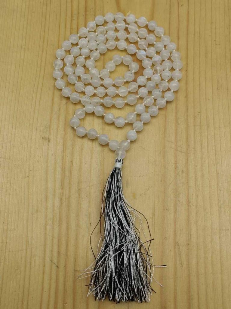 Natural Moonstone Gemstone Handknotted 108 Beads Healing  Japa Mala