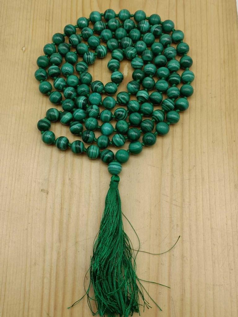 Natural Malachite Gemstone Handknotted 108 Beads Healing  Japa Mala