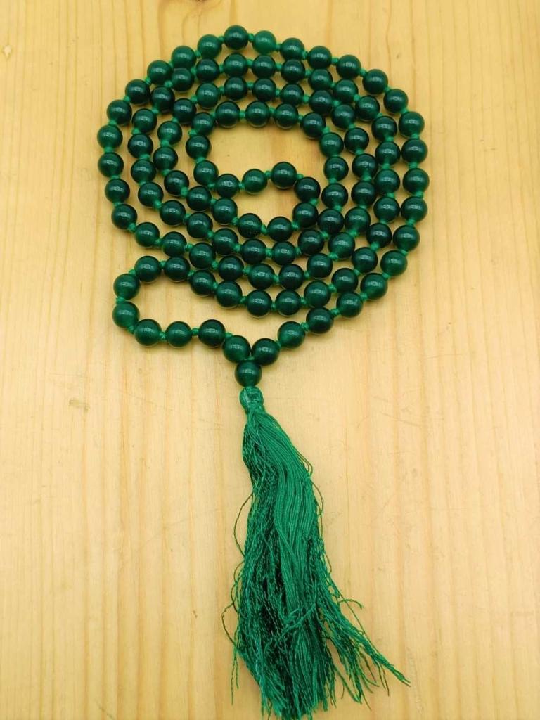 Natural Green Onyx Gemstone Handknotted 108 Beads Healing  Japa Mala