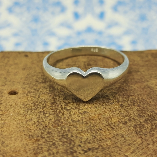 925 Sterling Silver Awesome Polish Heart Shape Handmade Signet Ring Gift For Her